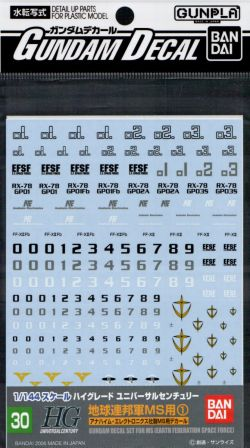 GD-30 HGUC 0083 EFSF Mobile Suit Decal