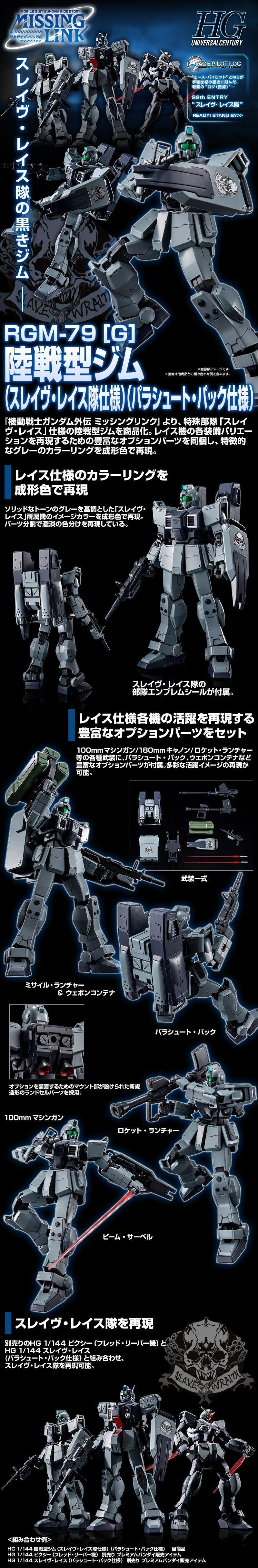HGUC GM Ground Type (Slave Wraith Team Custom) (Parachute Pack) Details