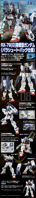 HGUC Gundam Ground Type Parachute Pack Details