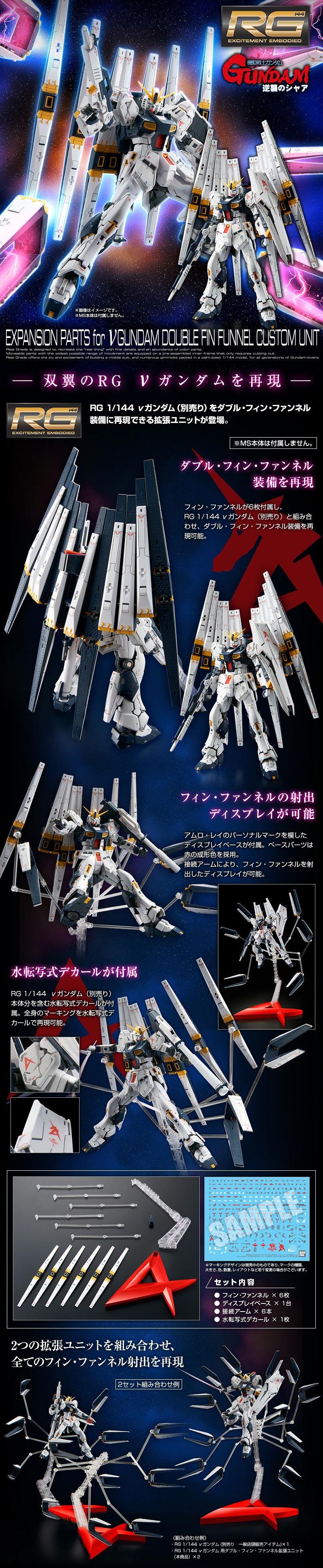 RG Expansion Parts for Nu Gundam Double Fin Funnel Custom Unit Details